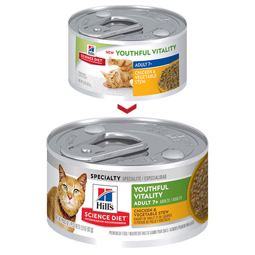 Hill's Science Diet Adult 7+ Youthful Vitality Chicken and Vegetable Stew Canned Cat Food 82 Gm