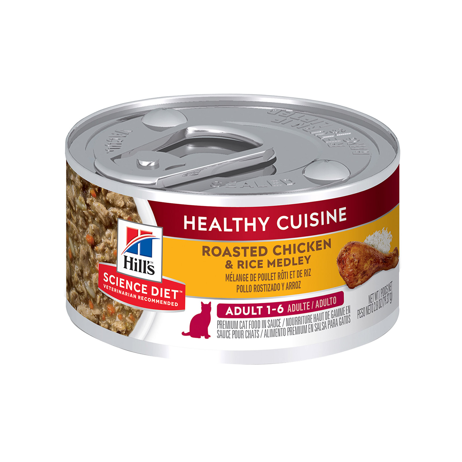 Hill's Science Diet Adult Healthy Cuisine Roasted Chicken & Rice Medley Canned Cat Food 79 Gm