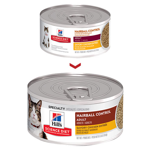 Hill's Science Diet Adult Hairball Control Savory Chicken Entrée Canned Cat Food  156 Gm