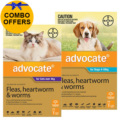 Advocate for Cats Over 4 kg + Advocate for Dogs Combo Pack Medium 4-10kg (Aqua)