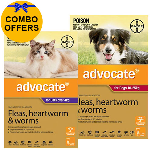 Advocate for Cats Over 4 kg + Advocate for Dogs Combo Pack Large 10-25kg (Red)