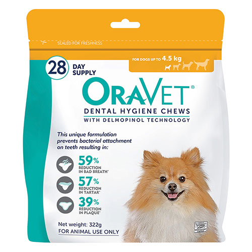 Oravet Dental Chews for X-Small Dogs Up To 4.5 kg (3 Pieces) ORANGE