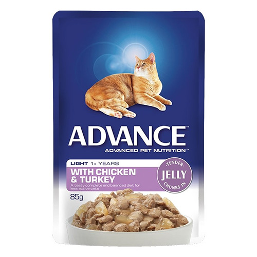 Advance Light Chicken & Turkey in Jelly Adult Cat Wet Food Pouch 85gmX12