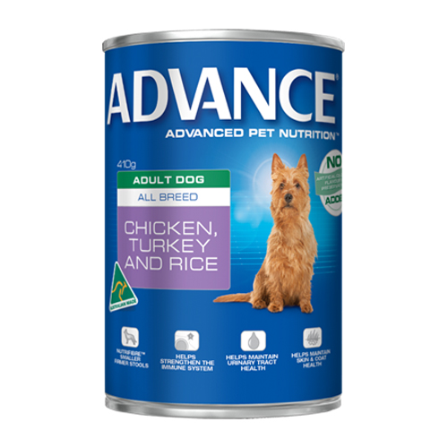 Advance Adult Dog All Breed with Chicken, Turkey & Rice Cans 410 Gm