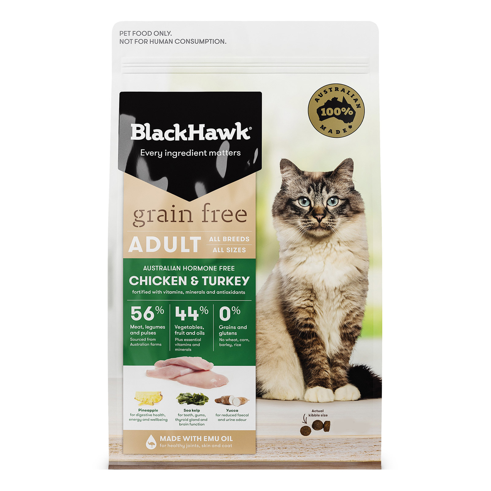 Black Hawk Grain Free Chicken and Turkey Adult Dry Cat Food