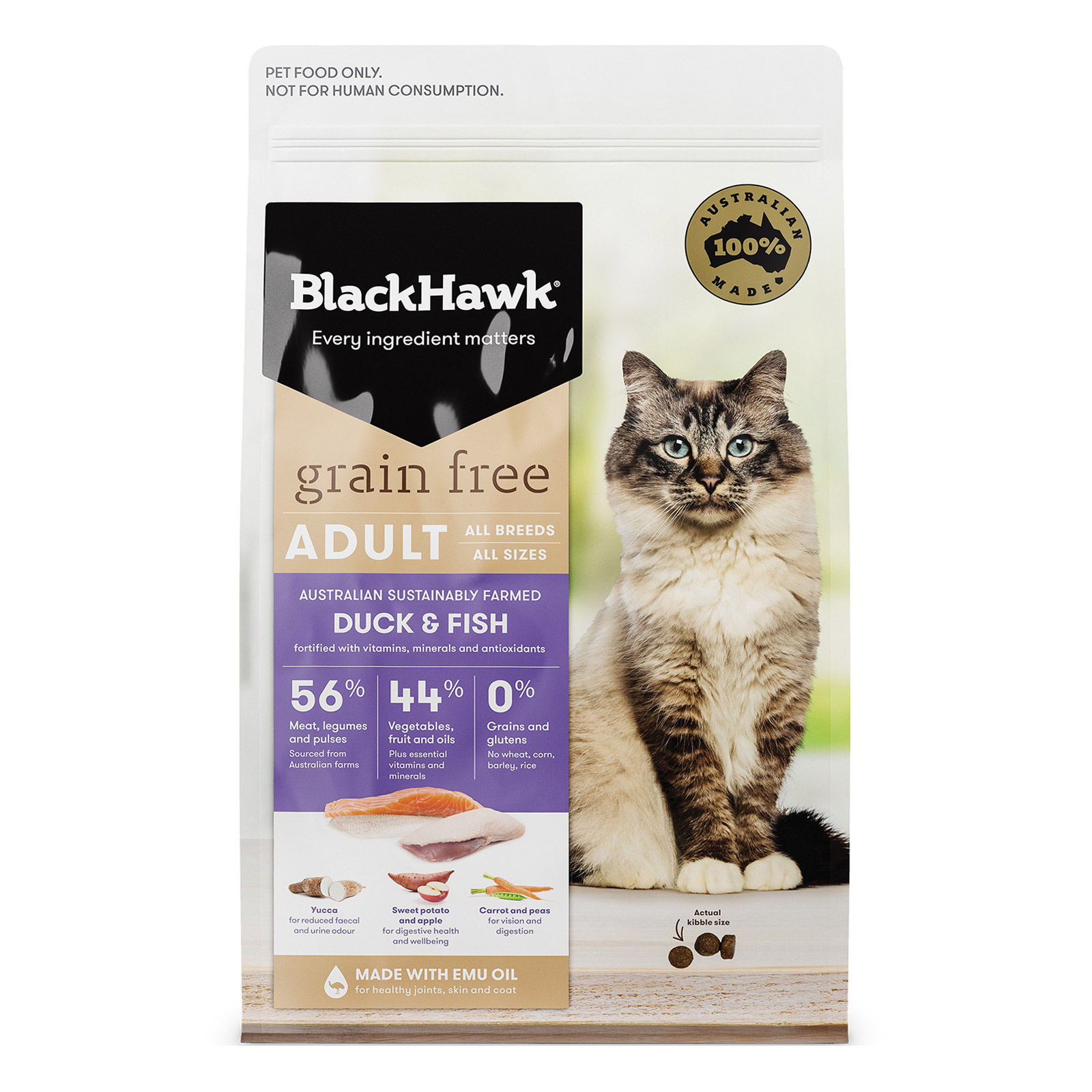Black Hawk Grain Free Duck and Fish Adult Dry Cat Food