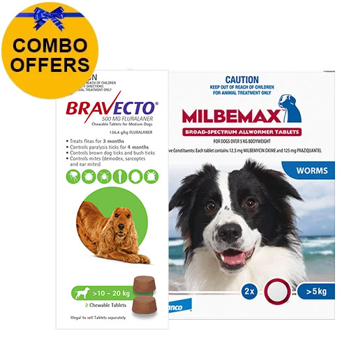 Bravecto Chew + Milbemax Combo Pack for Dogs 10-20kg (Medium Dogs)