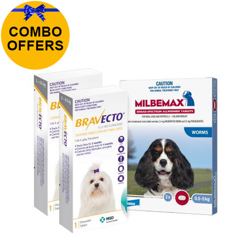 Bravecto Chew + Milbemax Combo Pack for Dogs 2-4.5kg (Toy Dogs - Yellow)