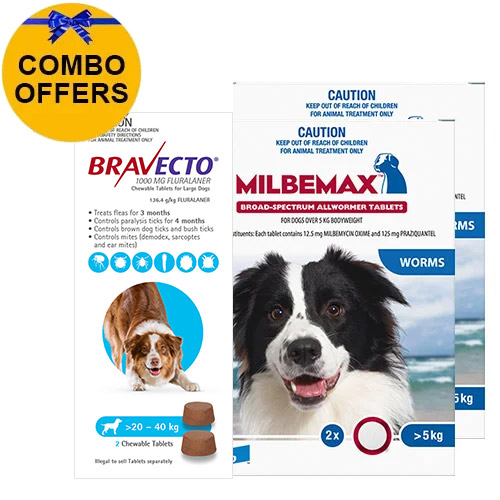Bravecto Chew + Milbemax Combo Pack for Dogs 20-40kg (Large Dogs)