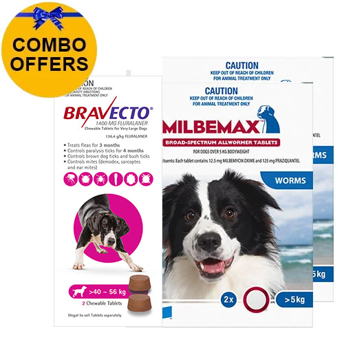 Bravecto Chew + Milbemax Combo Pack for Dogs 40-50kg (X-Large Dogs)