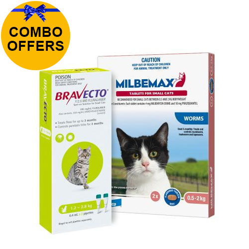 Bravecto Spot On + Milbemax Combo Pack For Cats (1.2 - 2 kg) - Green
