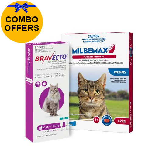 Bravecto Spot On + Milbemax Combo Pack For Cats (6.25 - 8 kg) - Purple