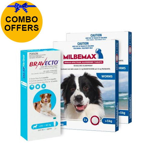 Bravecto Spot On + Milbemax Combo Pack For Dogs for Dogs 20-40kg (Large Dogs - Aqua)
