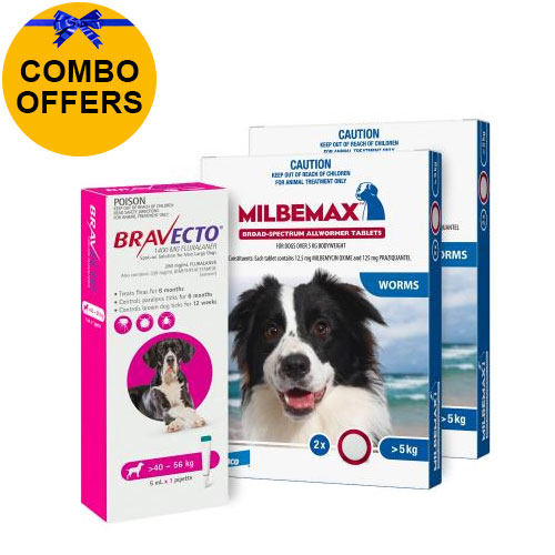 Bravecto Spot On + Milbemax Combo Pack For Dogs for Dogs 40-56kg (X-Large Dogs - Pink)