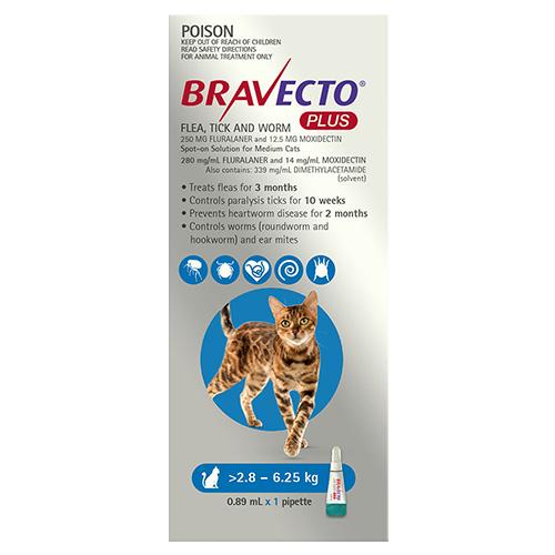 Bravecto Plus for Medium Cats 2.8 – 6.25 kg (Blue)