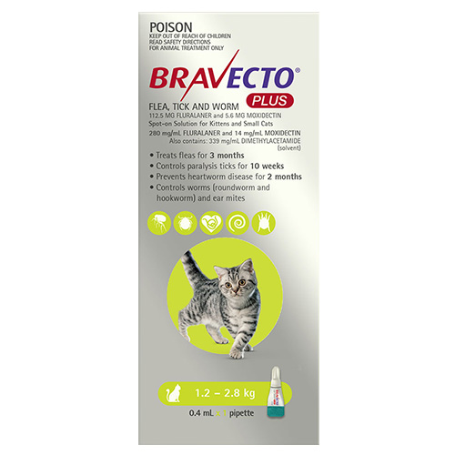 Bravecto Plus for Small Cats 1.2 – 2.8 kg (Green)