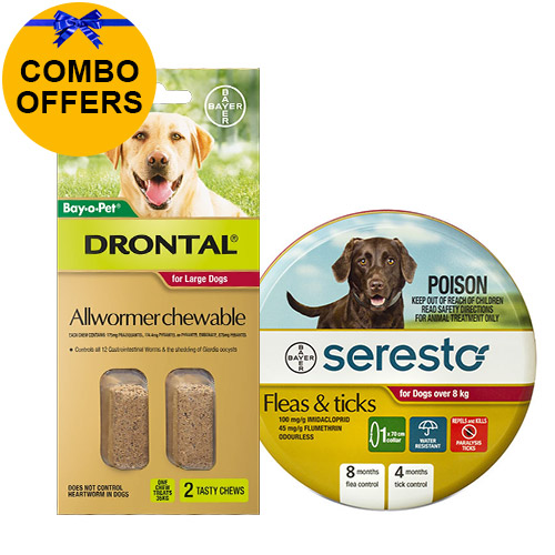 Seresto Collar + Drontal Allwormer Combo Pack  for Dogs Over 8 Kg