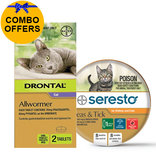 Seresto Flea Collar + Drontal Combo Pack