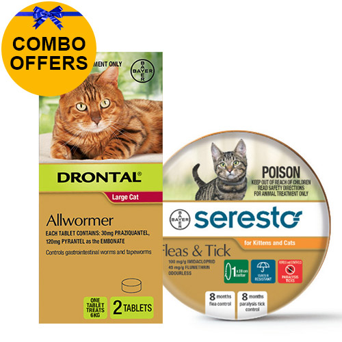 Seresto Flea Collar + Drontal Combo Pack For Cats 6kg