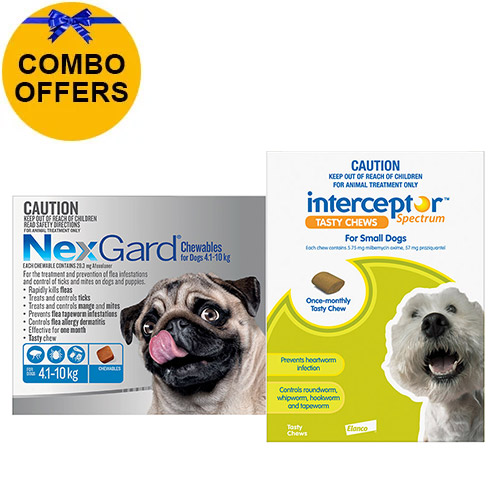For Dogs 4 To 10Kg Nexgard (Blue) + Interceptor(Green)
