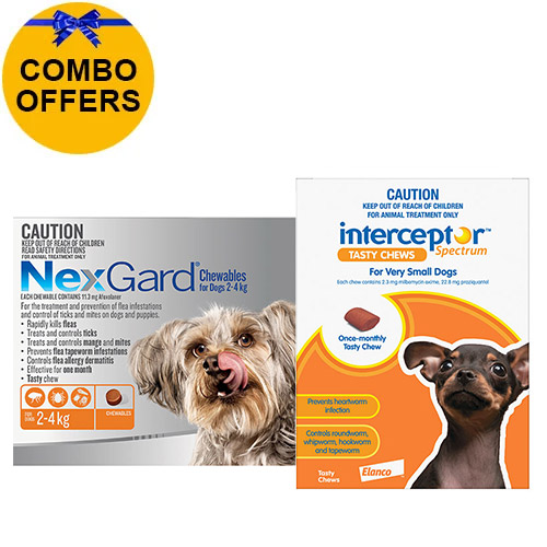 For Dogs Up To 4Kg  Nexgard (Orange) + Interceptor(Brown)