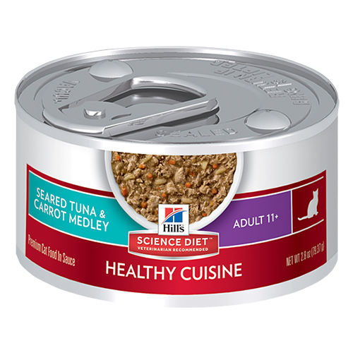 Hill's Science Diet Adult 11+ Cat Food Seared Tuna & Carrot Medley Canned Cat Food 79 Gm