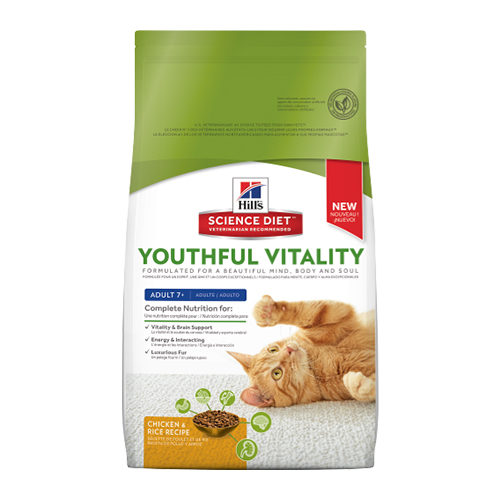 Hill's Science Diet Adult 7+ Youthful Vitality Chicken & Rice Dry Cat Food