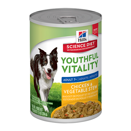Hill's Science Diet Adult 7+ Youthful Vitality Chicken & Vegetable Stew Canned Dog Food 354 Gm