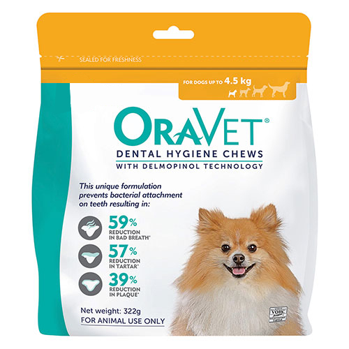 Oravet Dental Chews for X-Small Dogs Up To 4.5 kg (28 Pieces) ORANGE