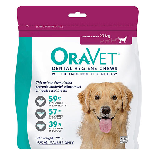 Oravet Dental Chews for Large Dogs Over 23 kg (14 Pieces) PINK