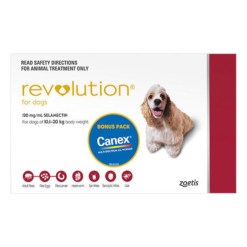 Revolution For Meduim Dogs 10.1 To 20Kg (Red)