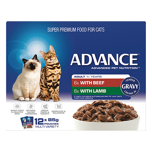 Advance Multipack Chunks in Gravy Adult Cat Wet Food Pouch 85gmX12