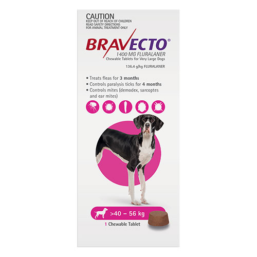Bravecto For Extra Large Dogs 40-56Kg (Pink)