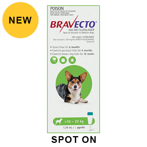 Bravecto Spot On for Medium Dogs (10 - 20 kg) Green