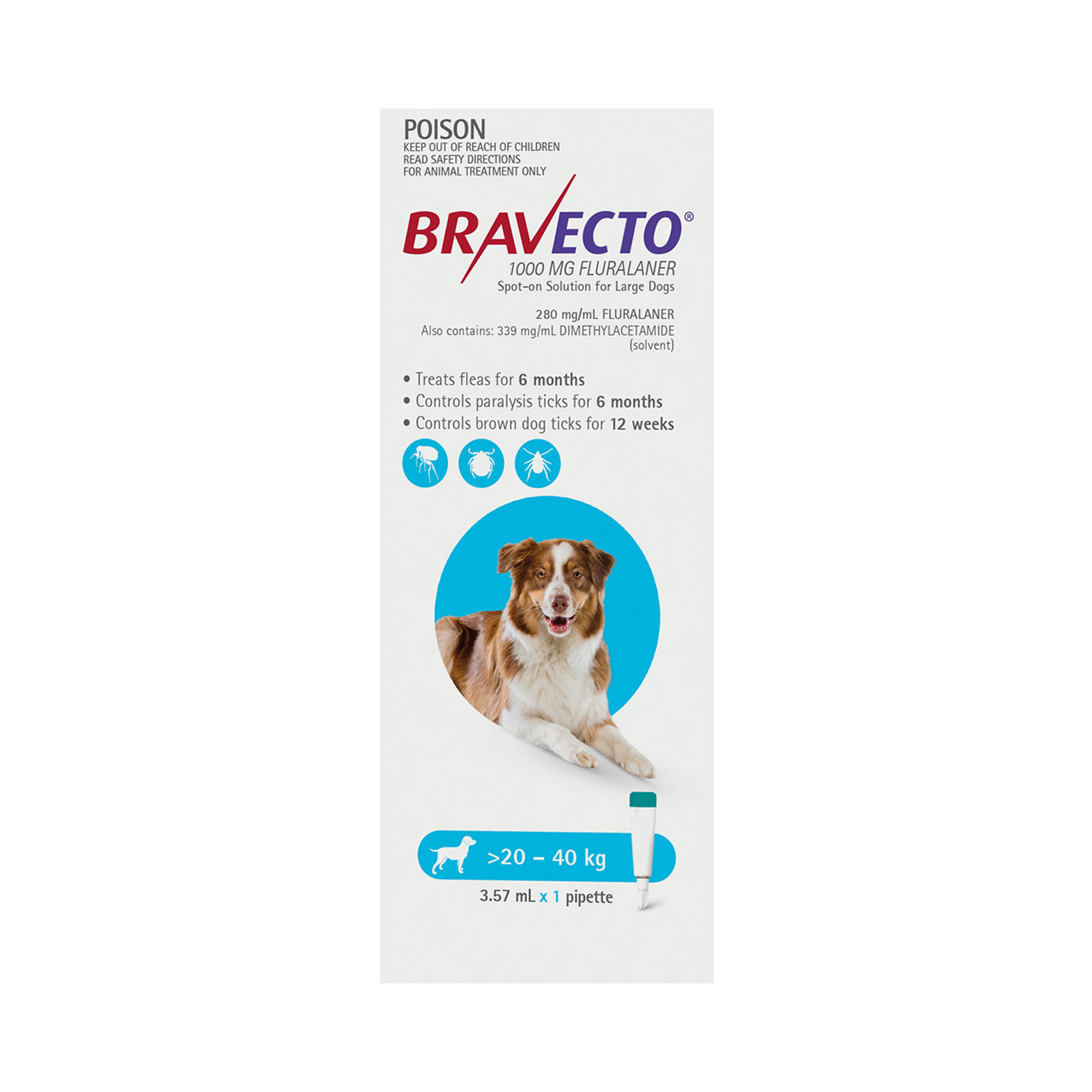 Bravecto Spot On for Large Dogs (20 - 40 kg) Aqua