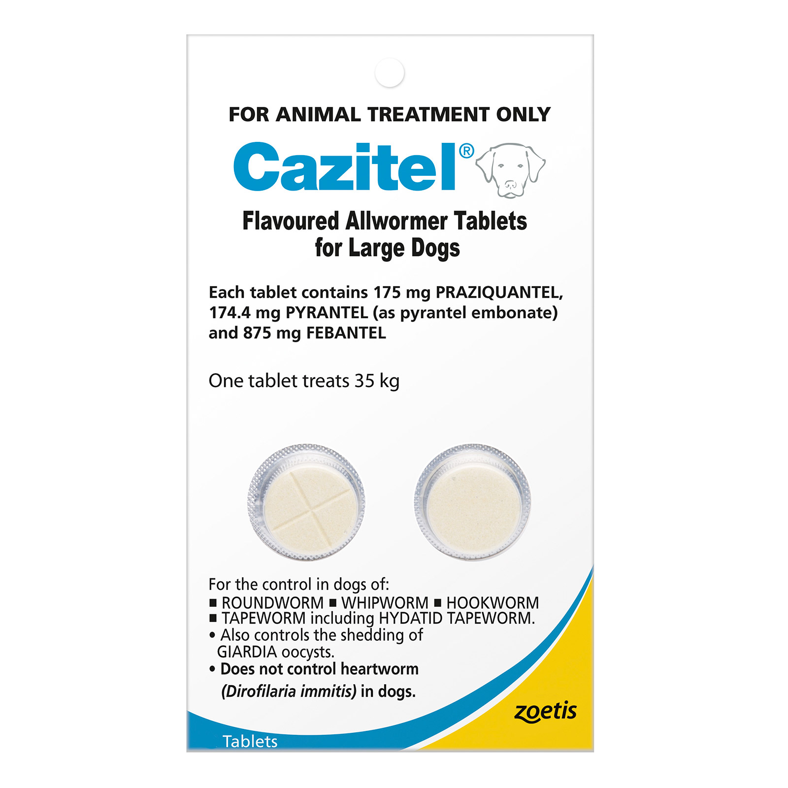Cazitel Flavoured Allwormer For Large Dogs 35Kg (Blue)