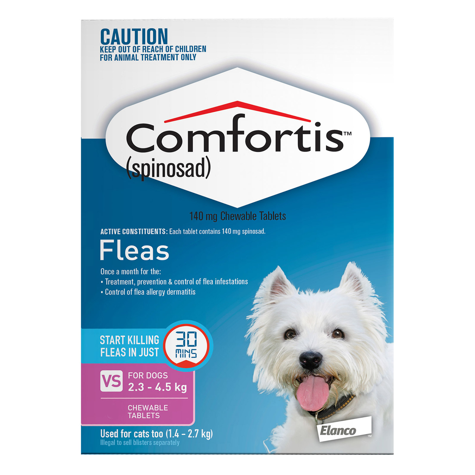 Comfortis For Dogs 2.3 - 4.5 Kg (Pink)