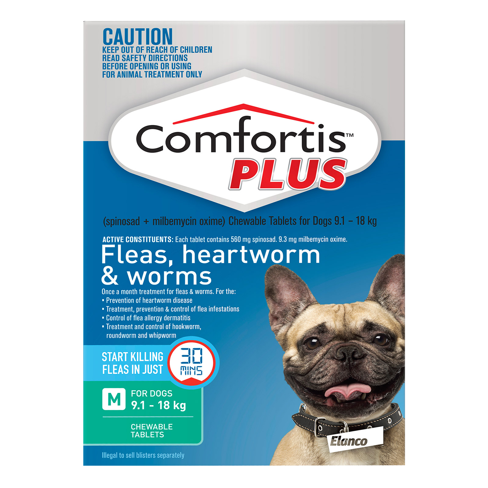 Comfortis Plus For Medium Dogs 9.1-18kg (Green)