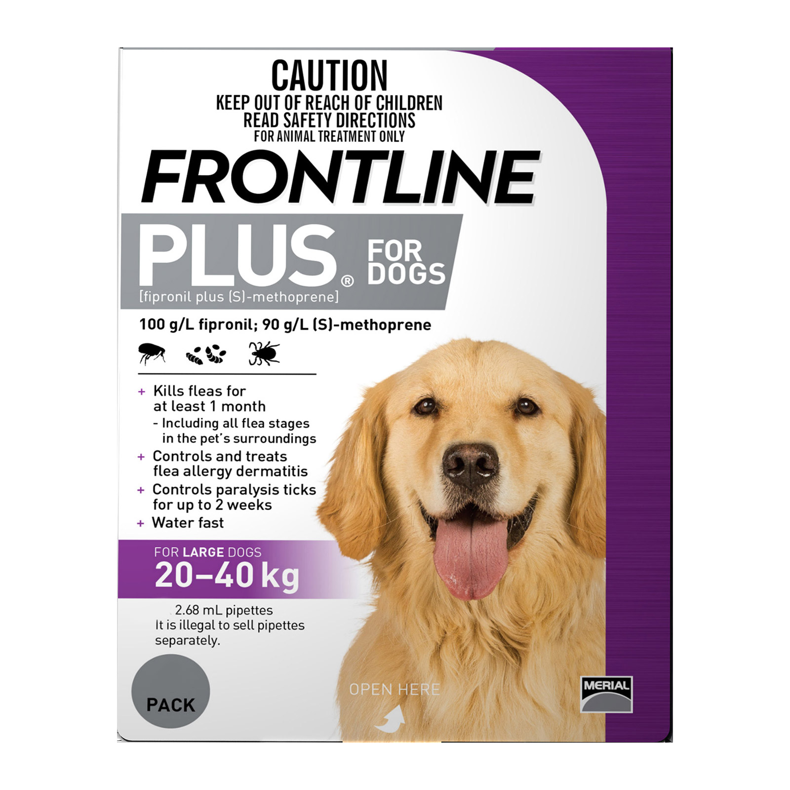 Frontline Plus For Large Dogs 20 To 40 Kg (Purple)