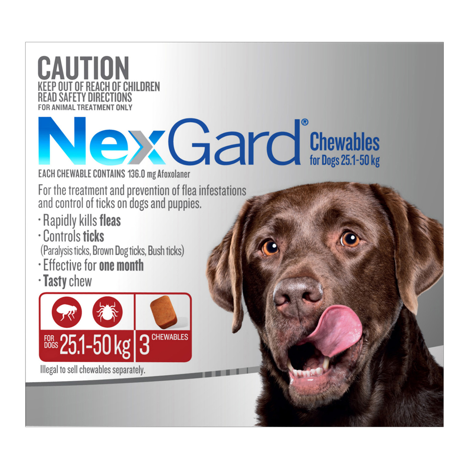 Nexgard Chewables For Large Dogs (25 - 50 Kg) Red