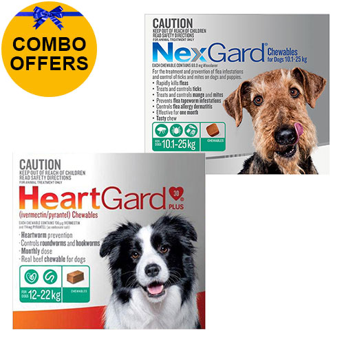 for Large Dogs<div class='comboHGNG'>Heartgard Plus Green 12-22kg + Nexgard Green 10-25kg</div>