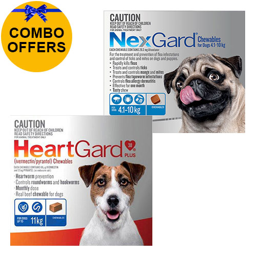 for Medium Dogs<div class='comboHGNG'>Heartgard Plus Blue 0-11kg + Nexgard Blue 4-10kg</div>
