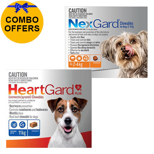 Nexgard + Heartgard Combo Pack for Small DogsNexgard Orange 0-4kg + Heartgard Plus Blue 0-11kg