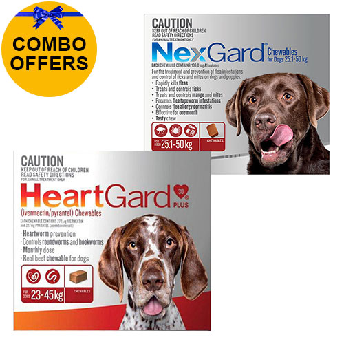 for Extra Large DogsHeartgard Plus Brown 23-45kg + Nexgard Red 25-50kg