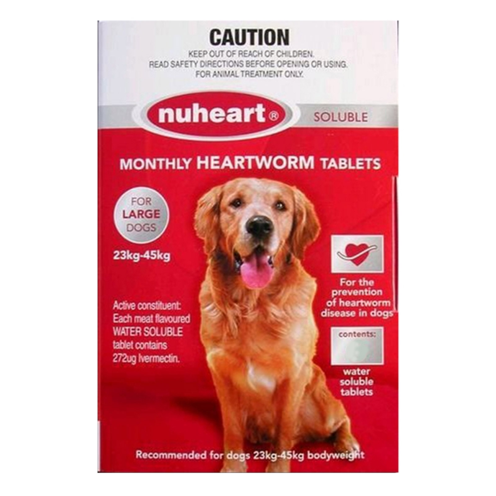 Generic Heartgard Tabs For Large Dogs - Nuheart 23 To 45Kg (Red)