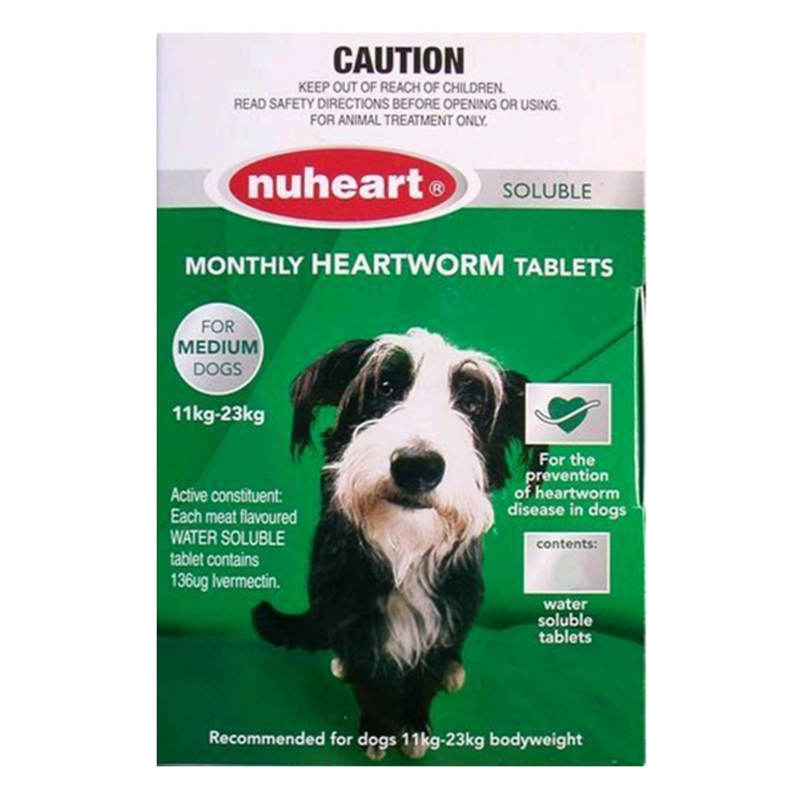Generic Heartgard Tabs For Medium Dogs - Nuheart 11 To 23Kg (Green)
