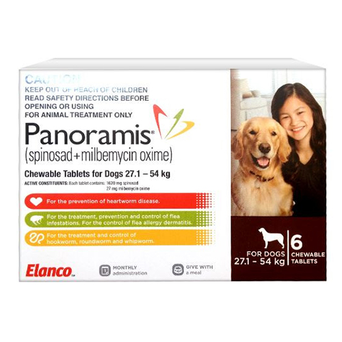 Panoramis Chewable Tablets For Dogs 27.1 - 54 Kg (Brown)