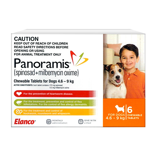 Panoramis Chewable Tablets For Dogs 4.6 - 9 Kg (Orange)