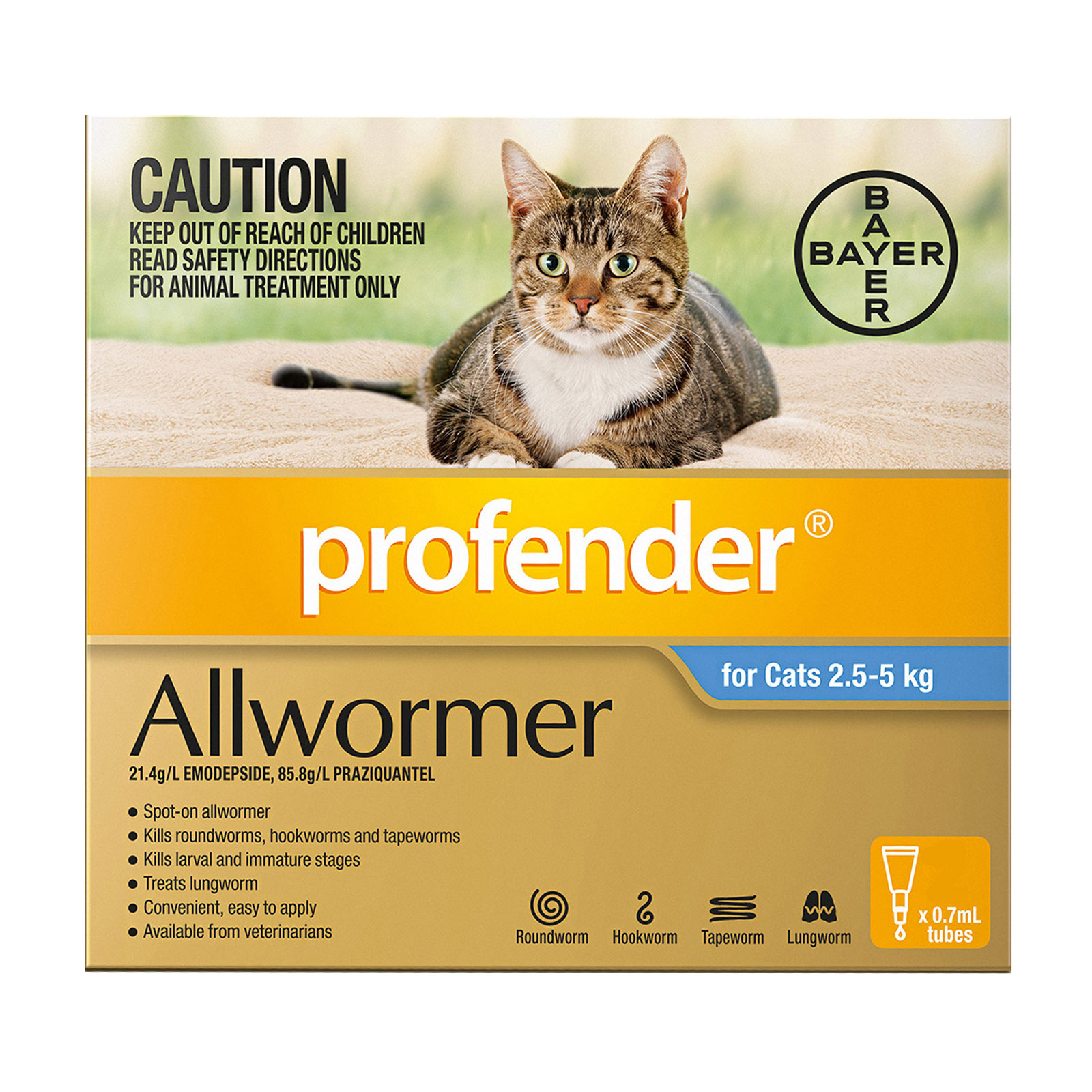 Profender Allwormer For Cats 2.5-5Kg (Blue)