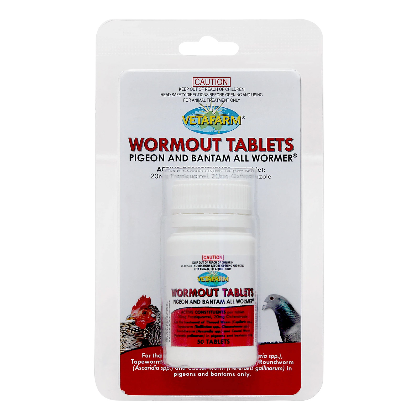 VetaFarm Wormout Tablets for Pigeons and Bantams Tablets